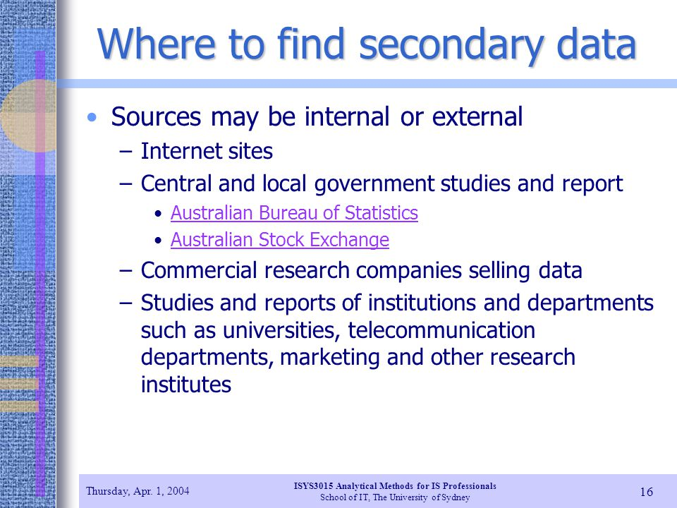 Where to find secondary data