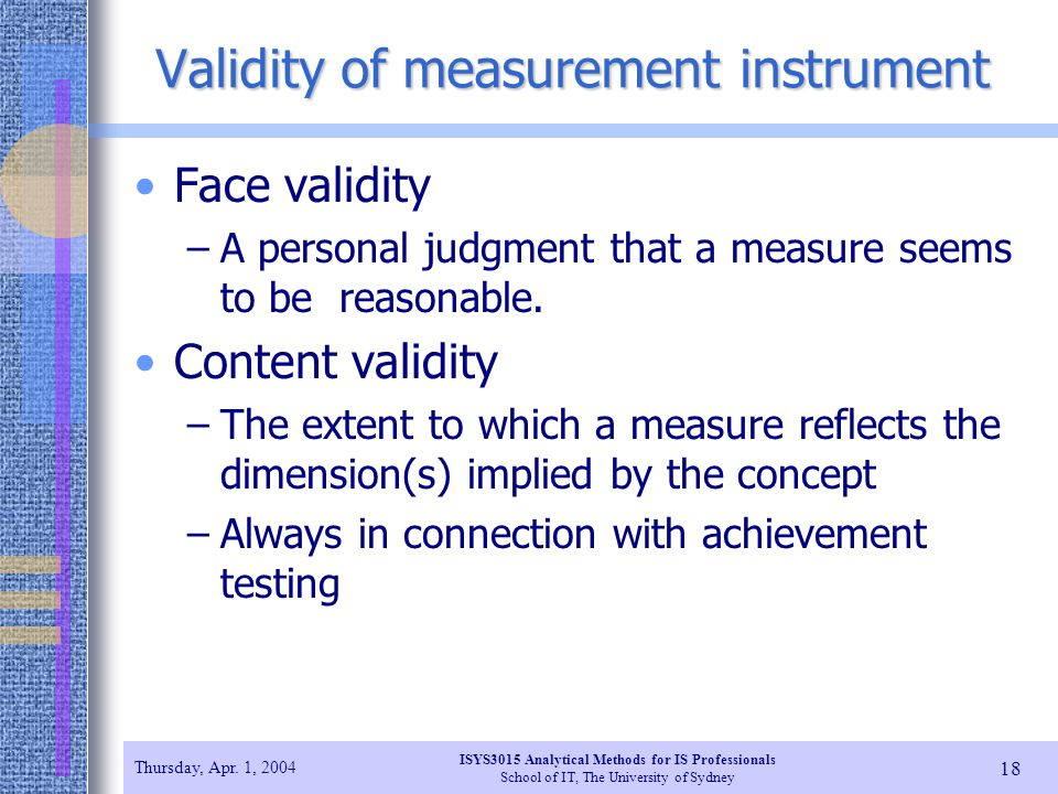 Validity of measurement instrument