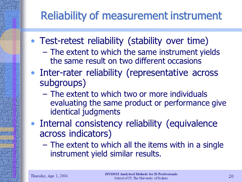 Reliability of measurement instrument