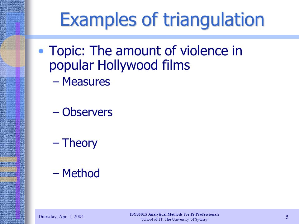 Examples of triangulation