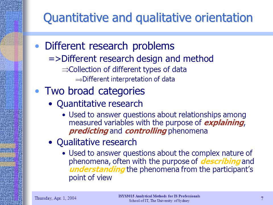 Quantitative and qualitative orientation