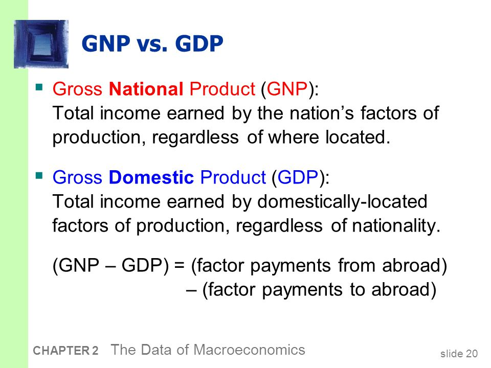 (GNP – GDP) as a percentage of GDP selected countries, 2005