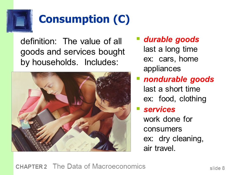 U.S. consumption, 2006 Services Nondurables Durables Consumption