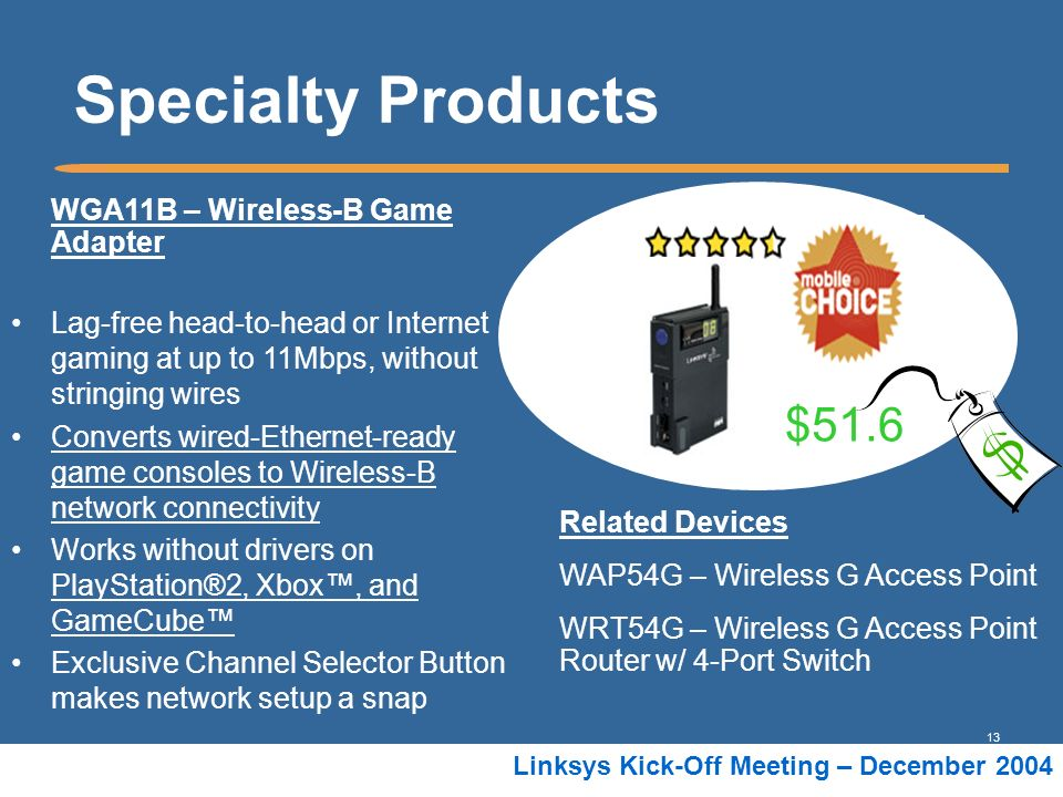 Specialty Products $51.6 WGA11B – Wireless-B Game Adapter