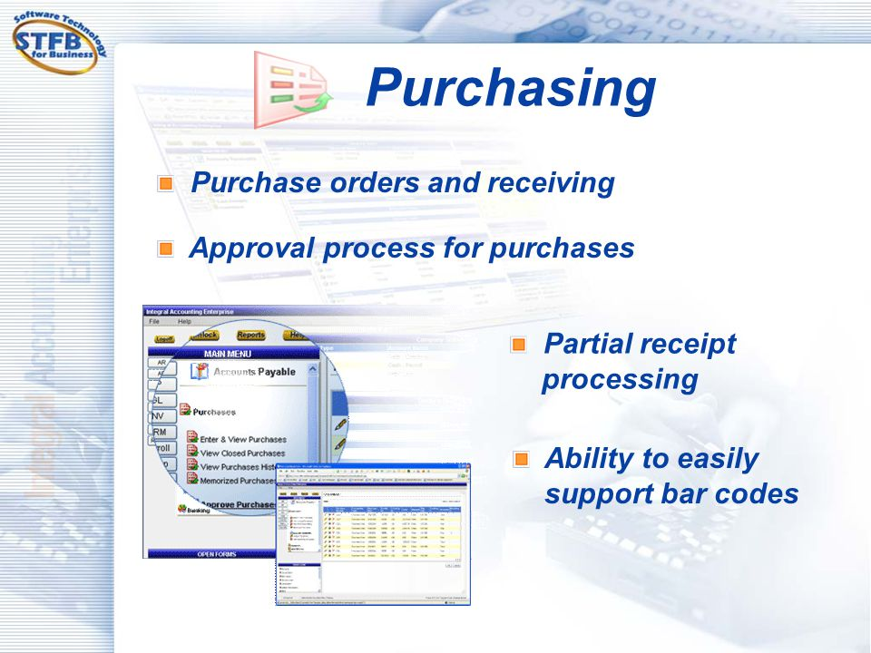 Purchasing Purchase orders and receiving