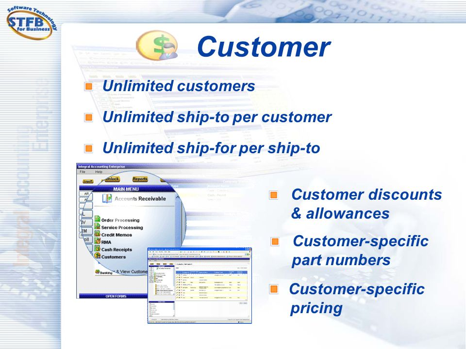 Customer Customer-specific pricing Unlimited customers