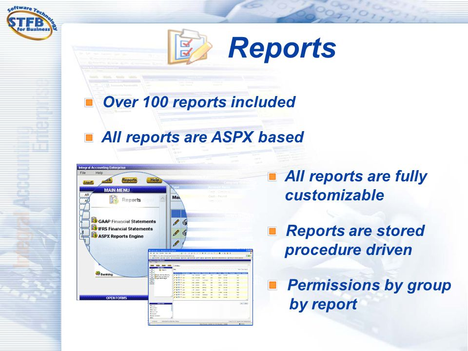 Reports Permissions by group by report Over 100 reports included