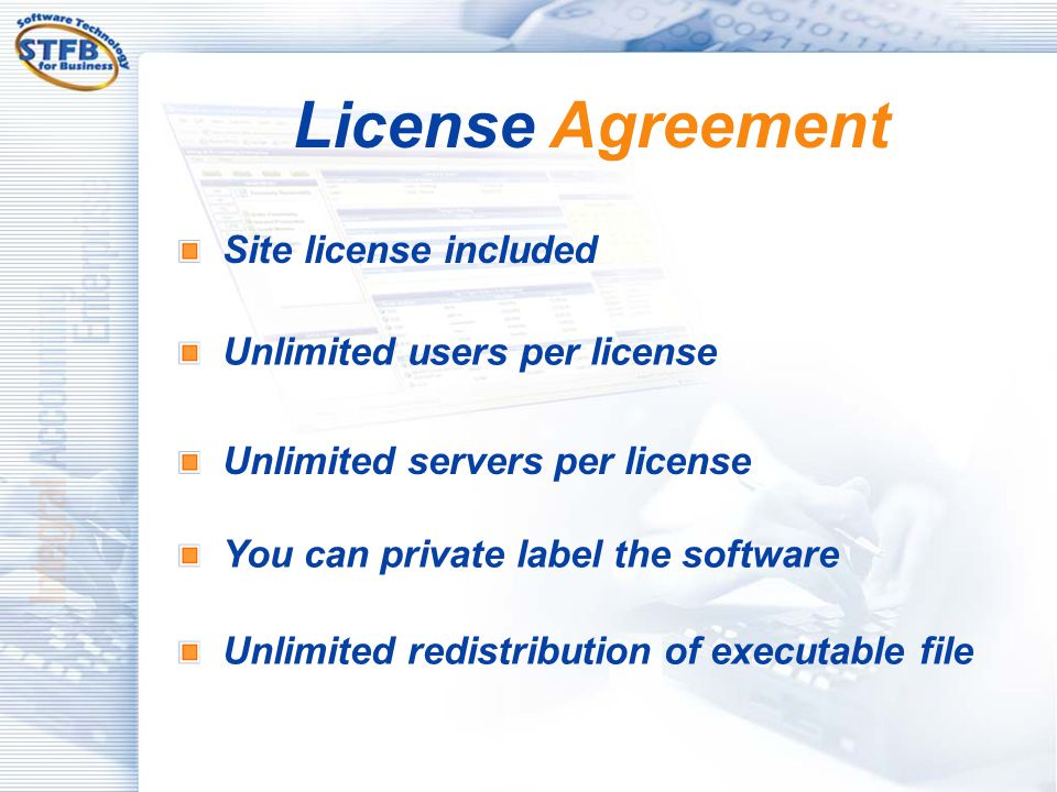 License Agreement Site license included Unlimited users per license
