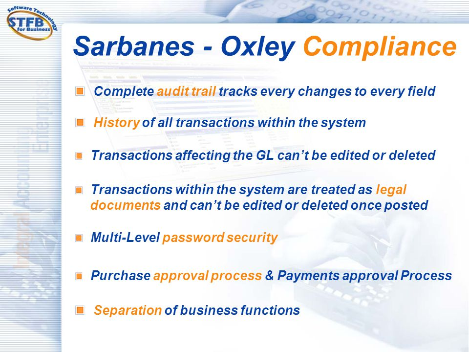 Sarbanes - Oxley Compliance