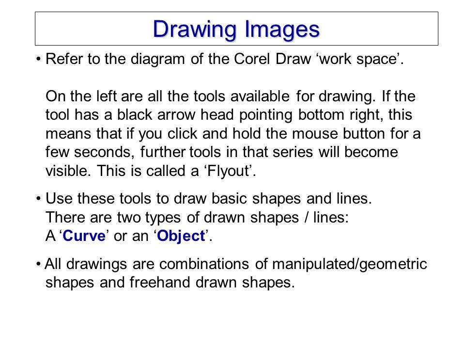 Corel Draw 11 Work Space standard menus context sensitive