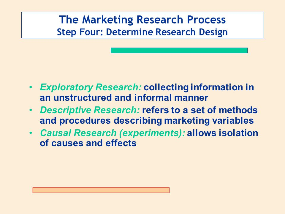 The Marketing Research Process Step Four: Determine Research Design