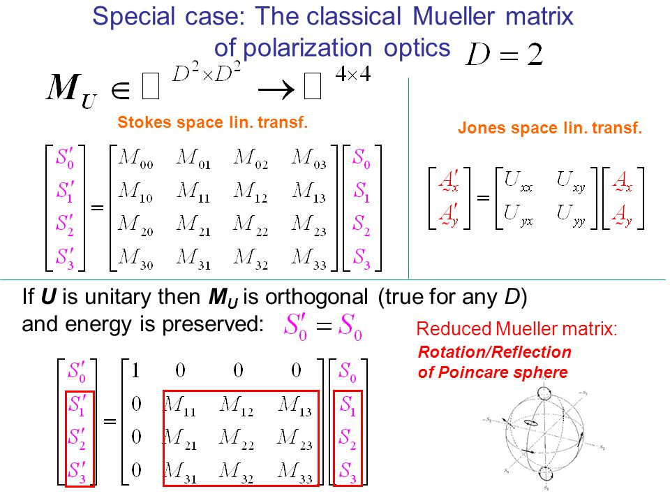 Special case: The classical Mueller matrix of polarization optics