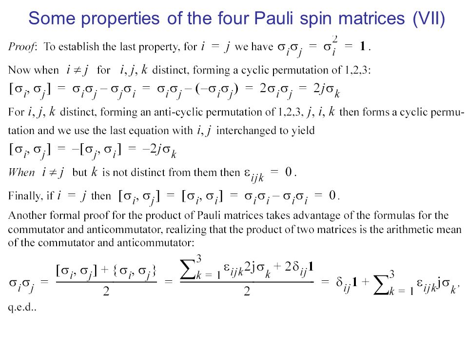 Some properties of the four Pauli spin matrices (VII)