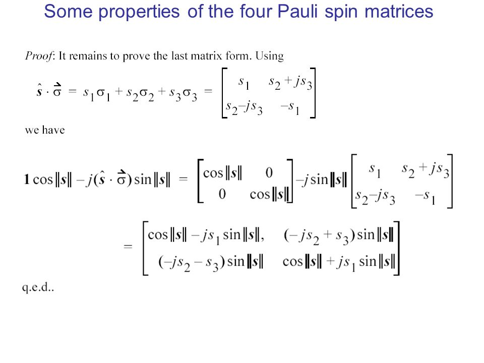 Some properties of the four Pauli spin matrices