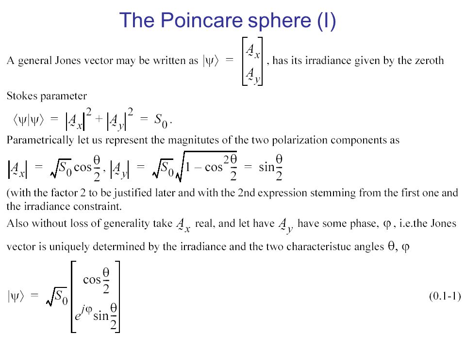 The Poincare sphere (I)