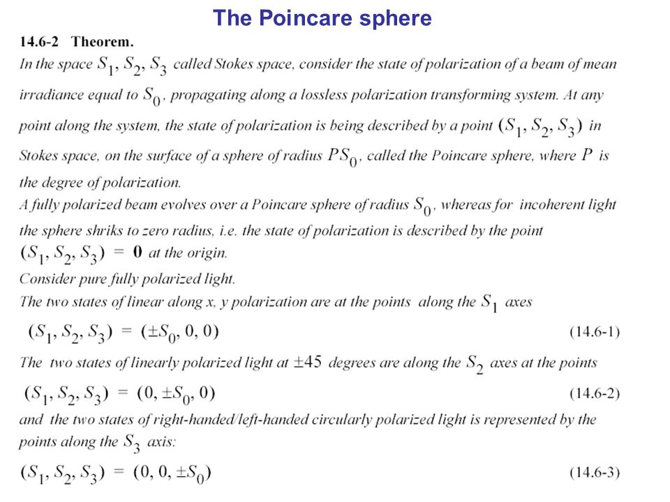 The Poincare sphere