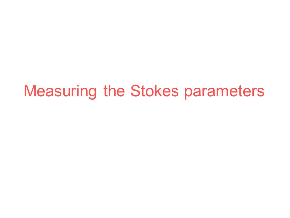 Measuring the Stokes parameters