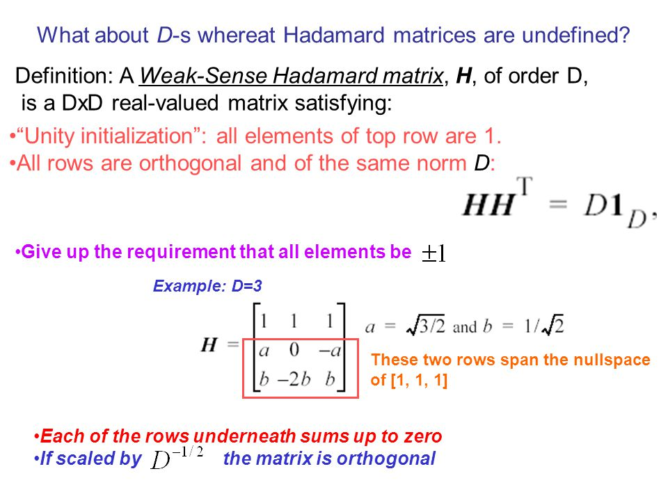 What about D-s whereat Hadamard matrices are undefined