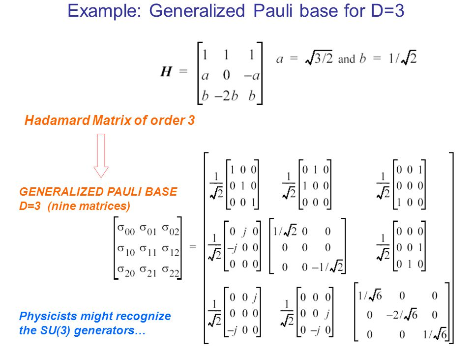 Example: Generalized Pauli base for D=3