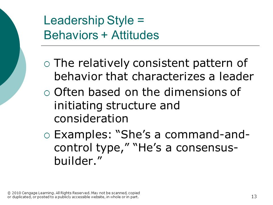 Leadership Style = Behaviors + Attitudes