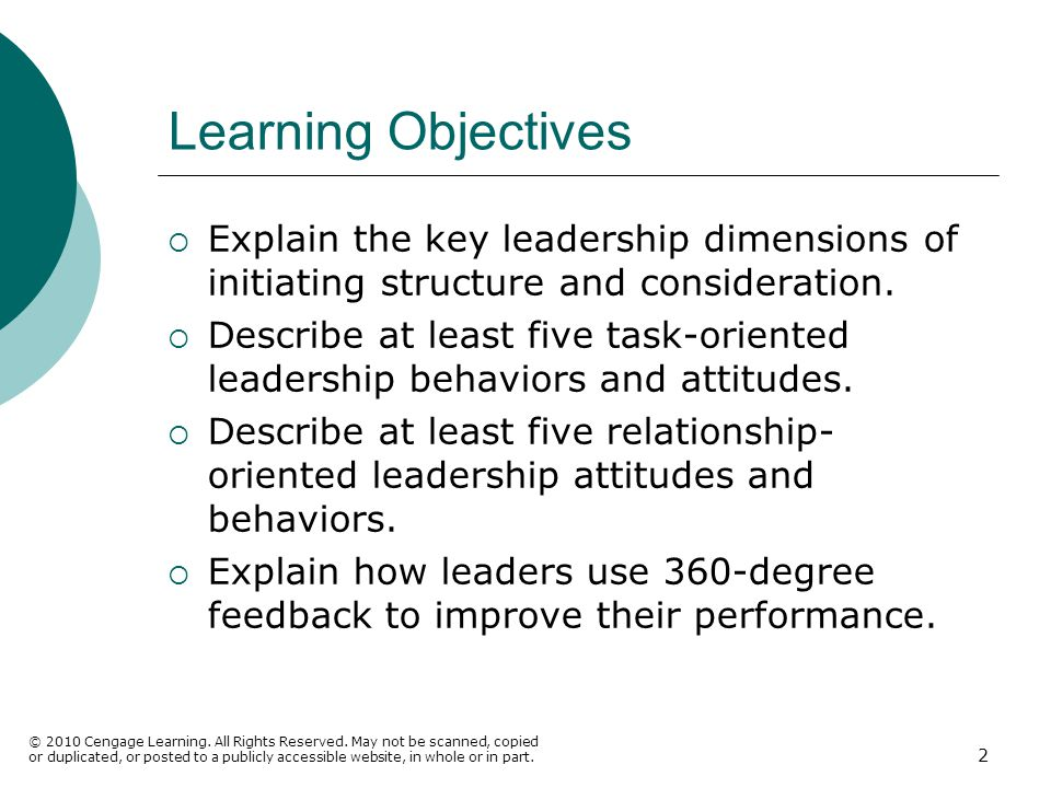 Learning Objectives Explain the key leadership dimensions of initiating structure and consideration.