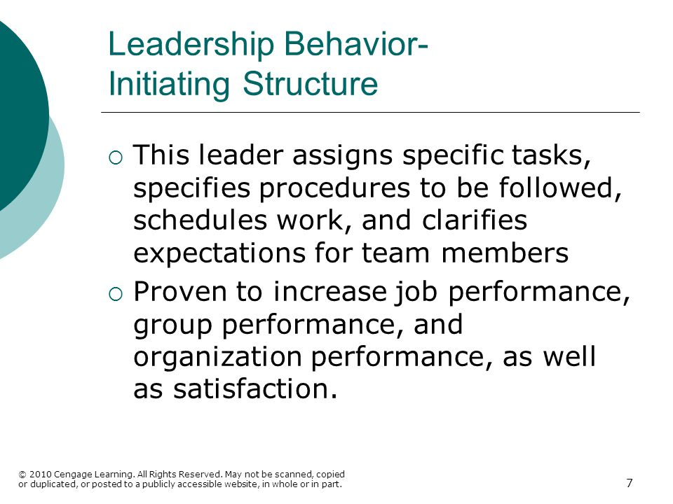 Leadership Behavior- Initiating Structure