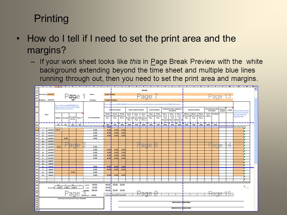 Printing How do I tell if I need to set the print area and the margins