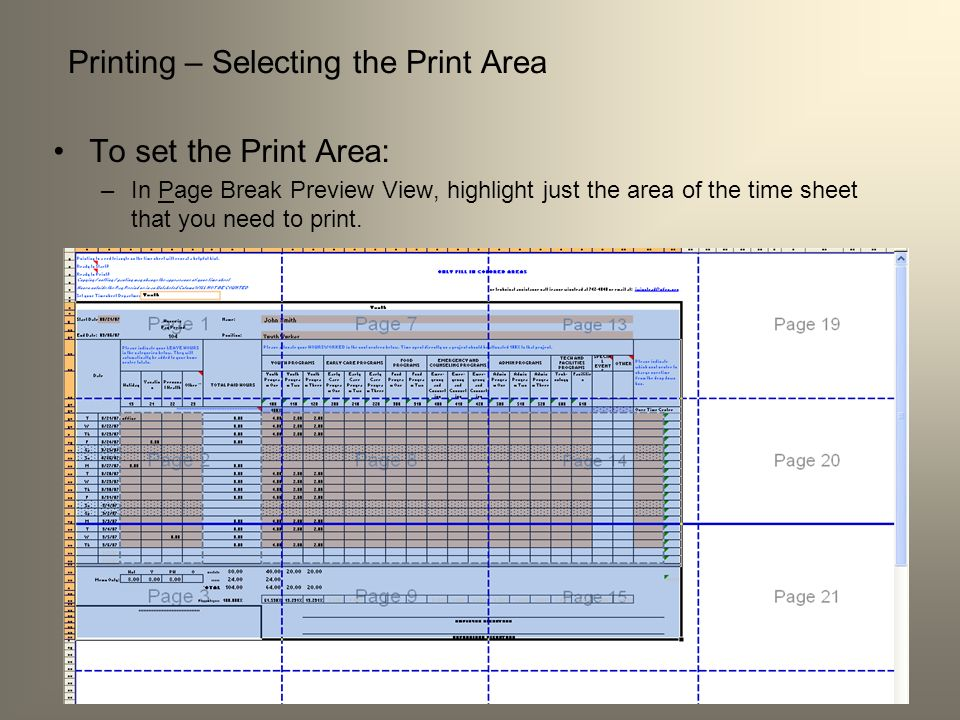 Printing – Selecting the Print Area