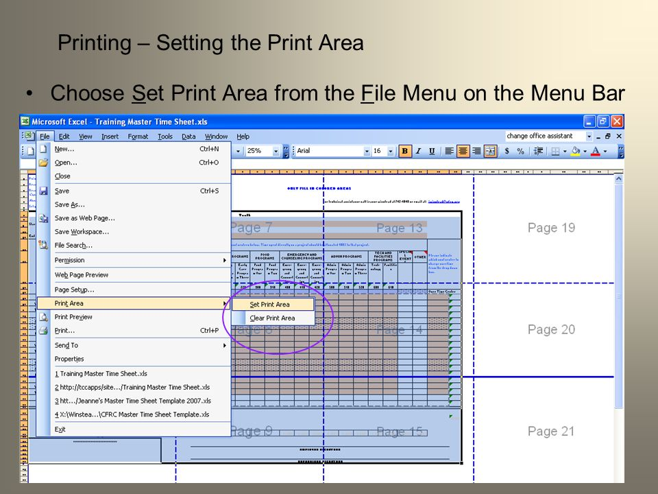 Printing – Setting the Print Area