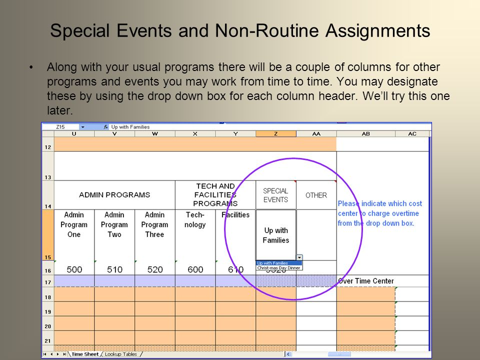 Special Events and Non-Routine Assignments