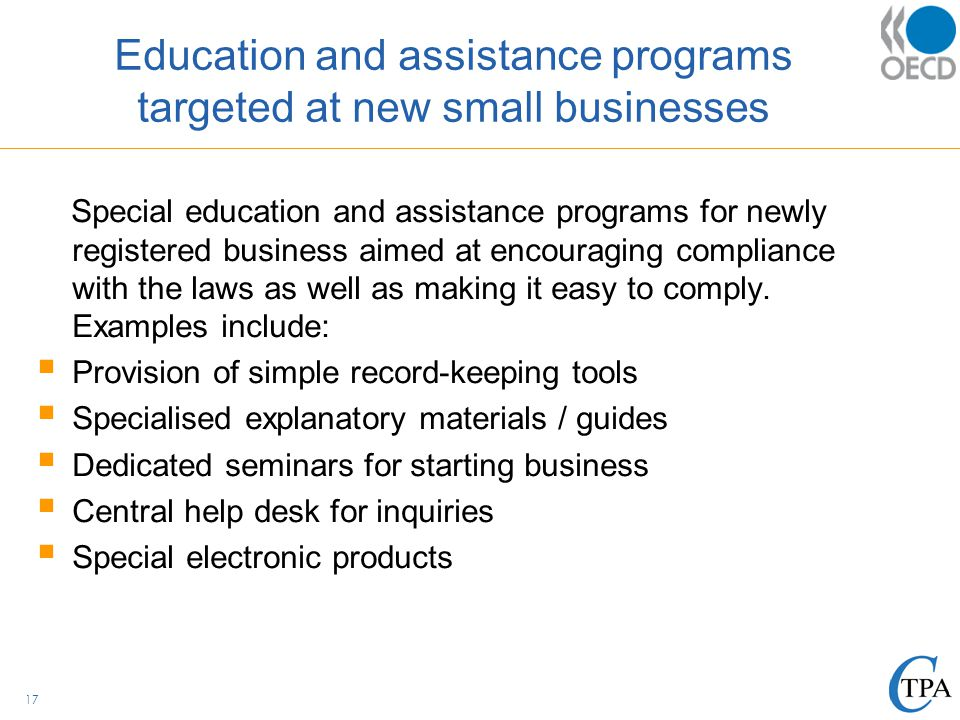 education and assistance programs targeted at new small businesses