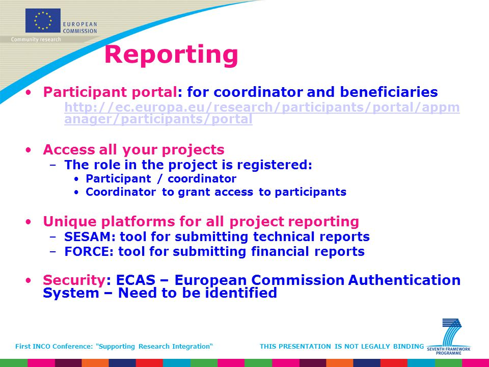 Reporting Participant portal: for coordinator and beneficiaries