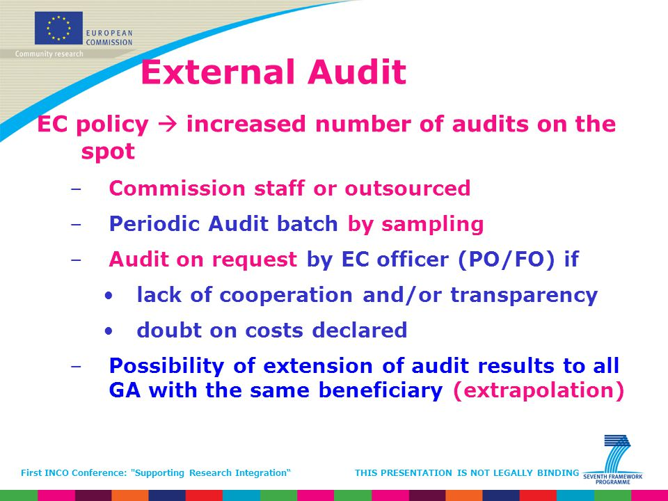External Audit EC policy  increased number of audits on the spot
