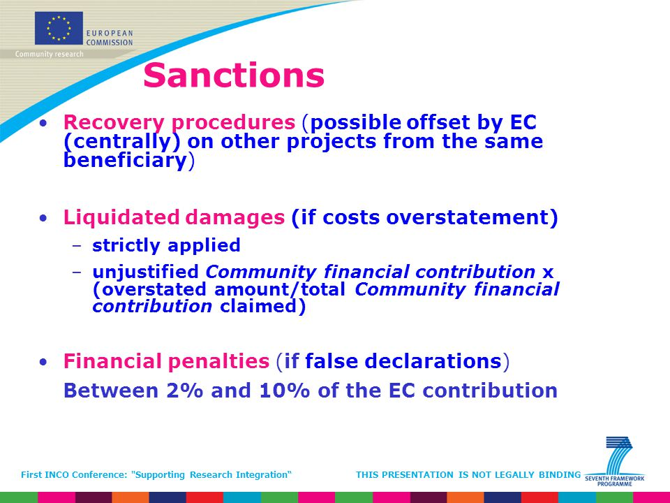 Sanctions Recovery procedures (possible offset by EC (centrally) on other projects from the same beneficiary)