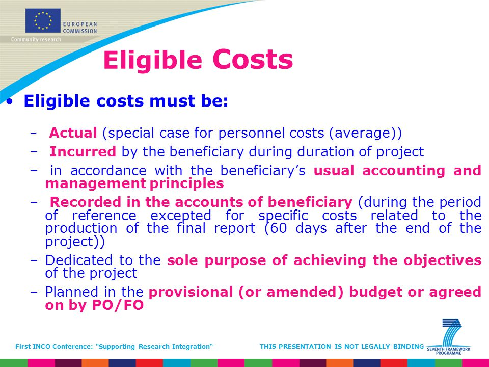 Eligible Costs Eligible costs must be: