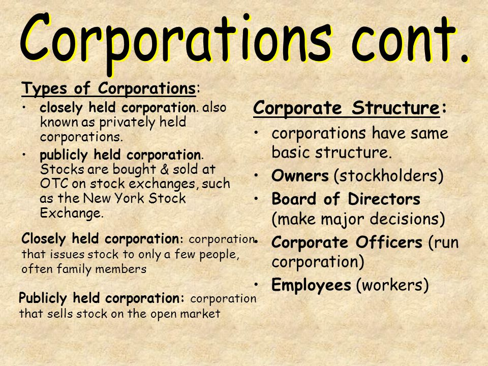 Corporations cont. Corporate Structure: Types of Corporations: