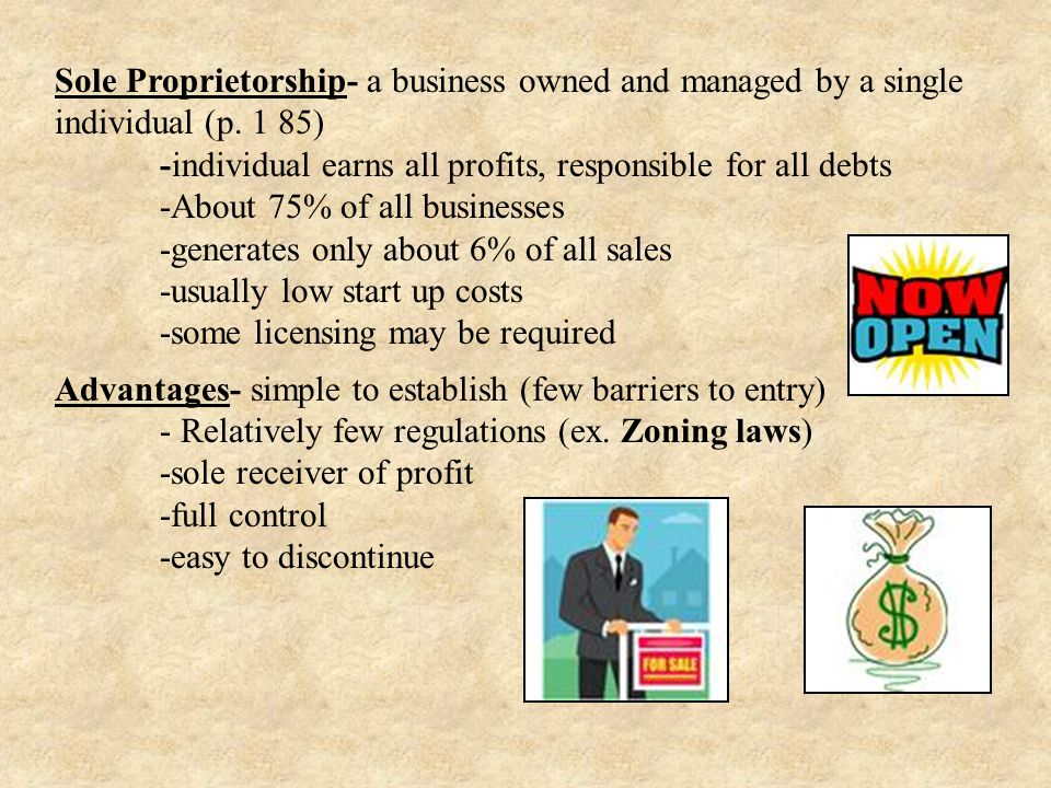 Sole Proprietorship- a business owned and managed by a single individual (p. 1 85)