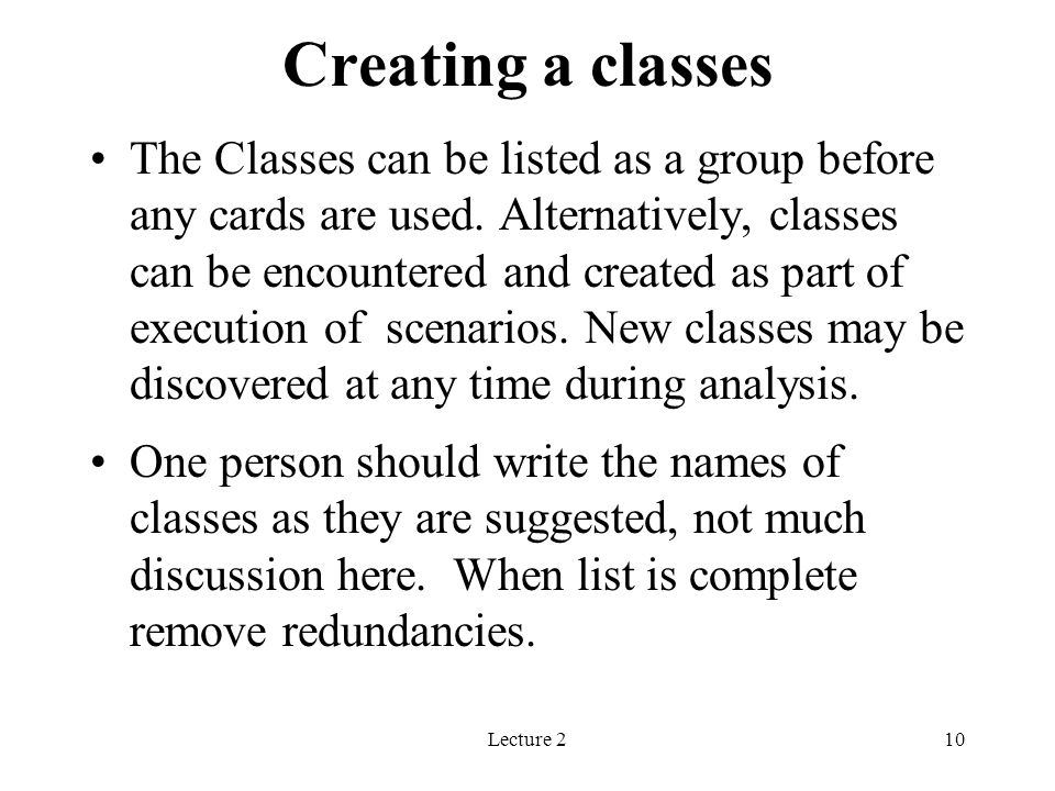 Creating a classes