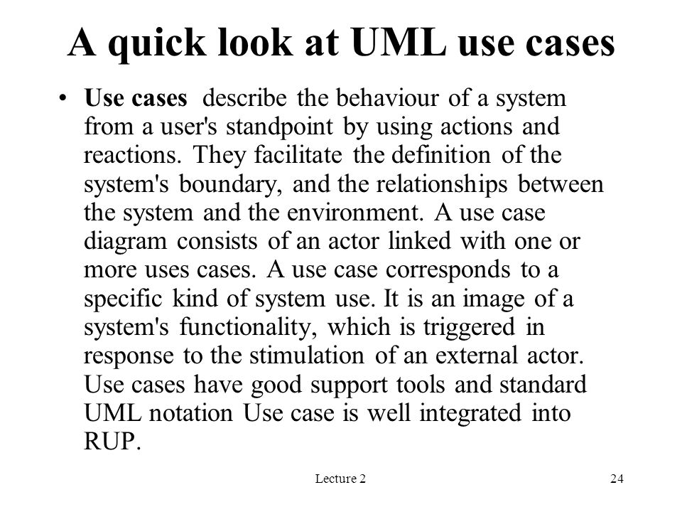 A quick look at UML use cases