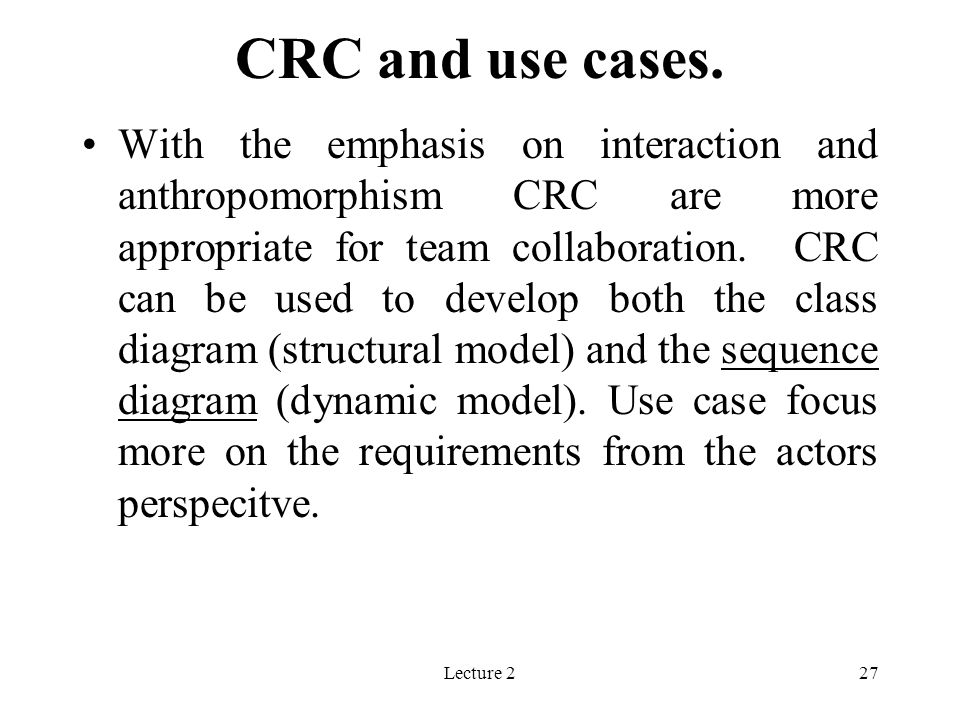 CRC and use cases.