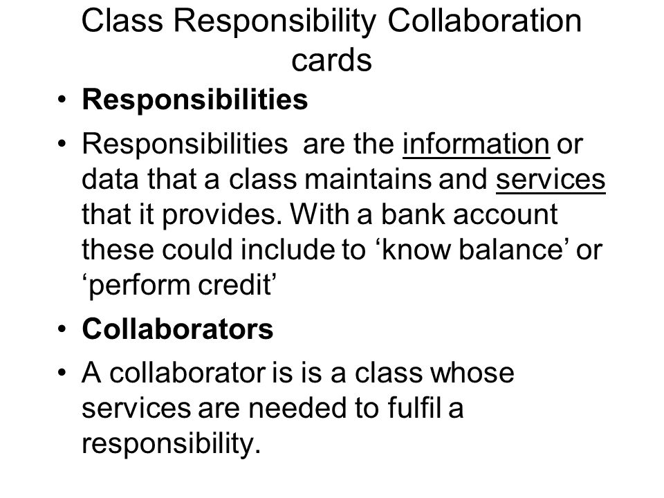 Class Responsibility Collaboration cards