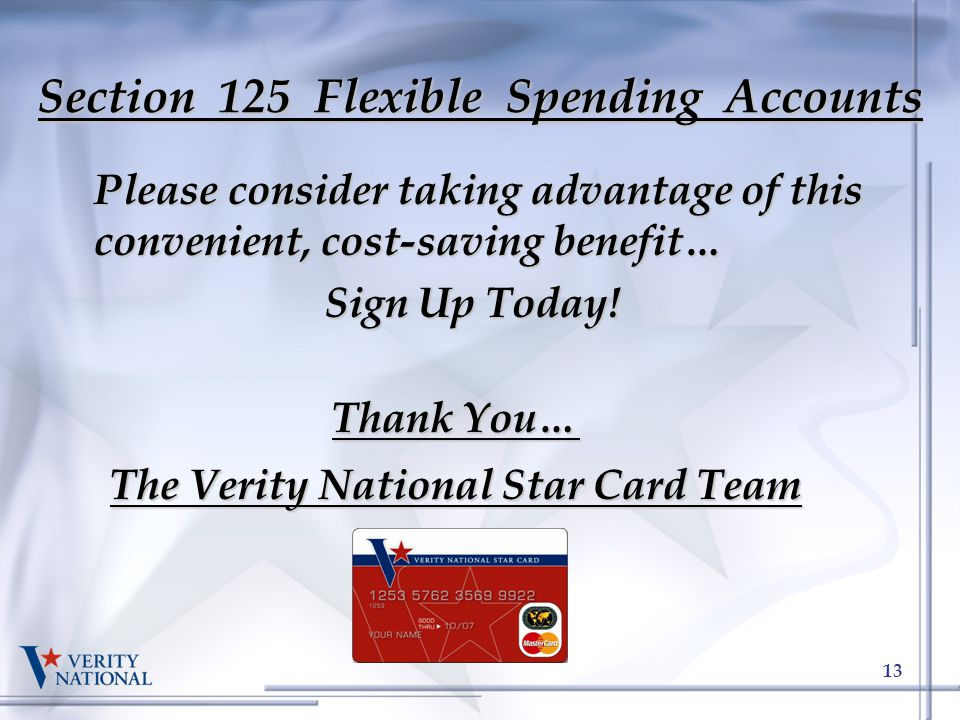 Thank You… The Verity National Star Card Team