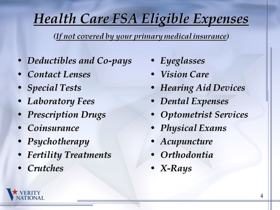 Health Care FSA Eligible Expenses (If not covered by your primary medical insurance)