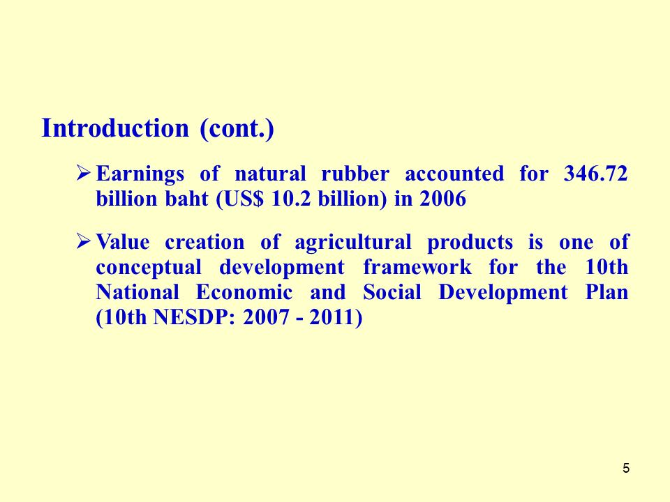 Introduction (cont.) Earnings of natural rubber accounted for billion baht (US$ 10.2 billion) in