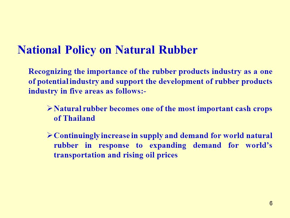 National Policy on Natural Rubber