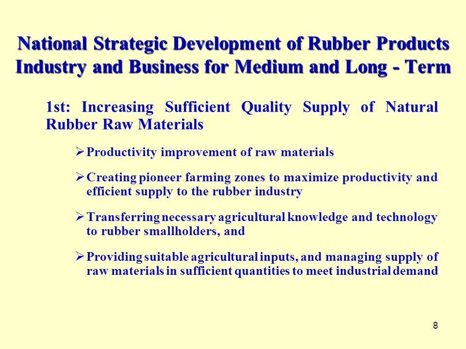 National Strategic Development of Rubber Products Industry and Business for Medium and Long - Term