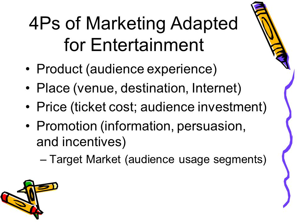 4Ps of Marketing Adapted for Entertainment