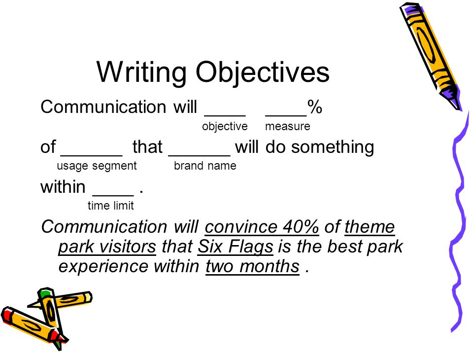 Writing Objectives Communication will ____ ____%