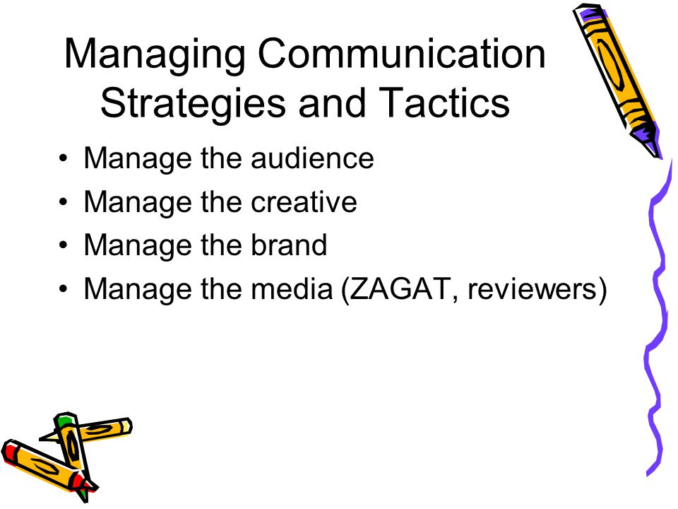 Managing Communication Strategies and Tactics