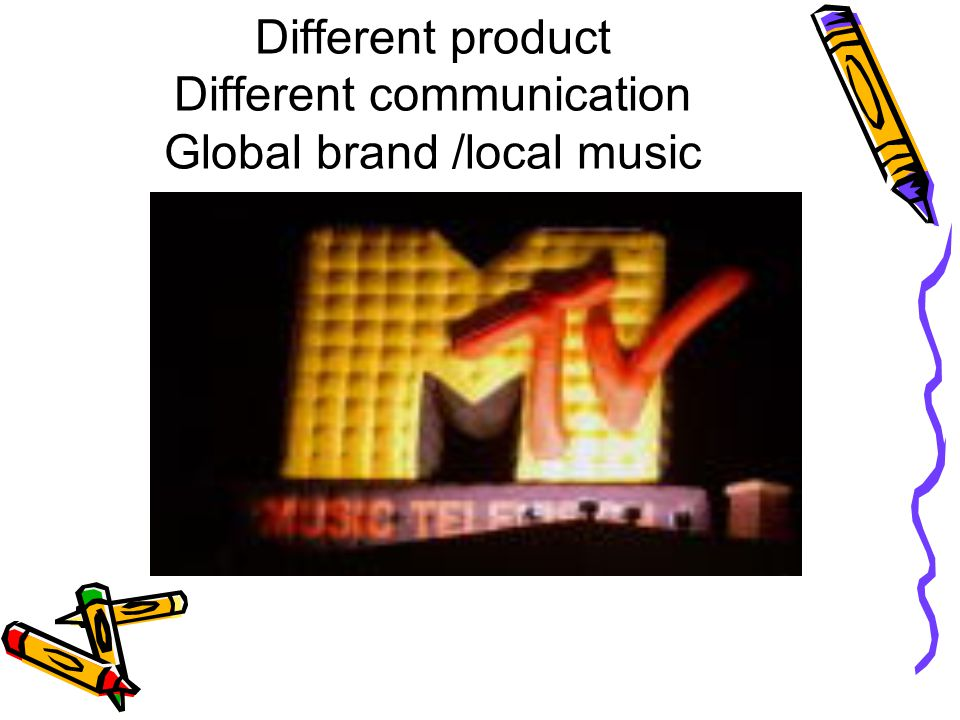 Different product Different communication Global brand /local music